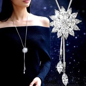 Jewelry - Crystal Zircon Flower Long Chain Sweater Necklace